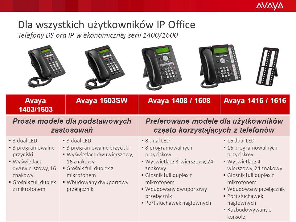 © 2011 Avaya Inc. All rights reserved. 34 Dla wszystkich użytkowników IP Office Telefony DS ora IP w ekonomicznej serii 1400/1600 Avaya 1403/1603 Avay
