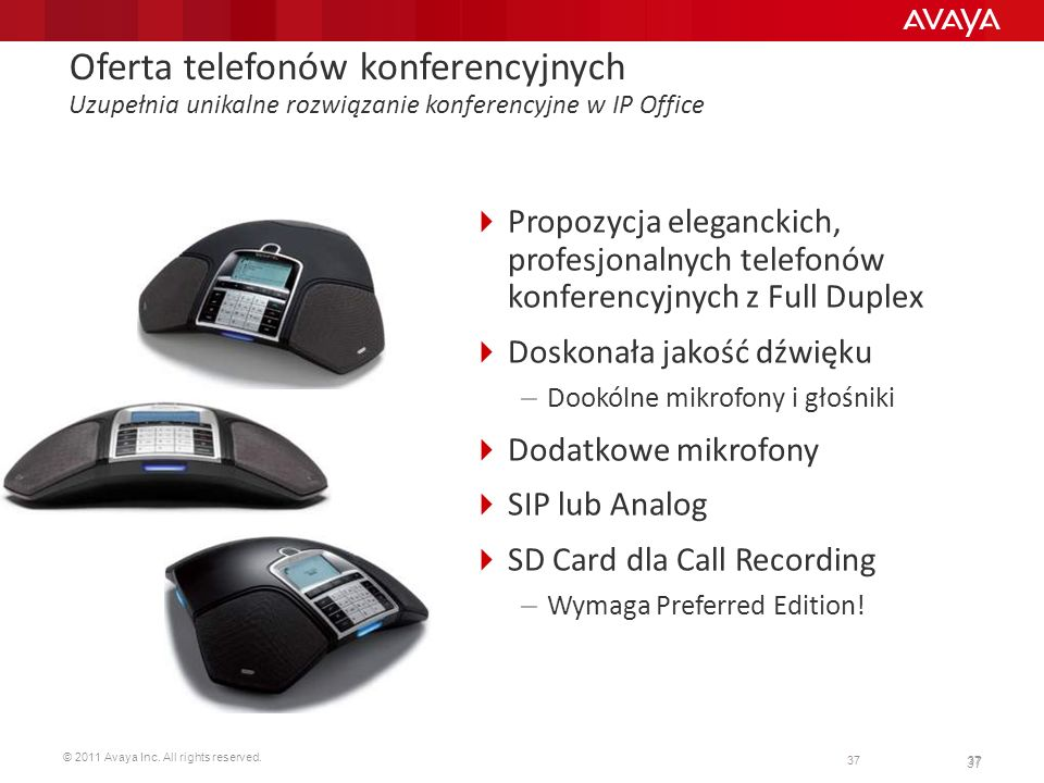 © 2011 Avaya Inc. All rights reserved. 37 Oferta telefonów konferencyjnych Uzupełnia unikalne rozwiązanie konferencyjne w IP Office Propozycja eleganc