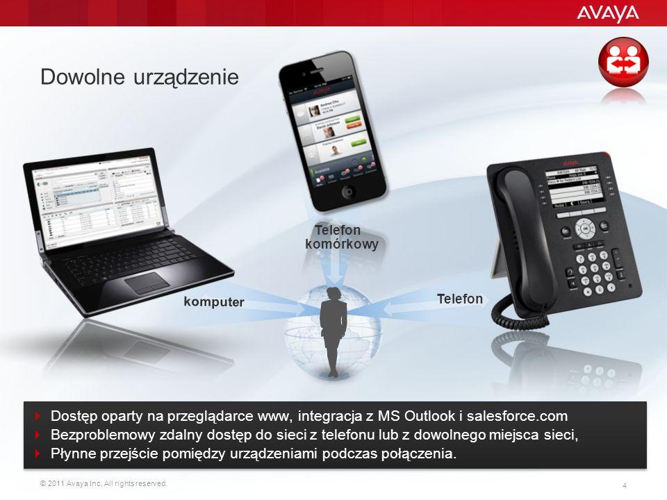 © 2011 Avaya Inc. All rights reserved. 4 Dowolne urządzenie Dostęp oparty na przeglądarce www, integracja z MS Outlook i salesforce.com Bezproblemowy