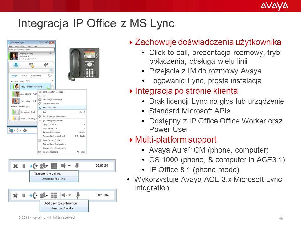 © 2011 Avaya Inc. All rights reserved. 45 Integracja IP Office z MS Lync Zachowuje doświadczenia użytkownika Click-to-call, prezentacja rozmowy, tryb