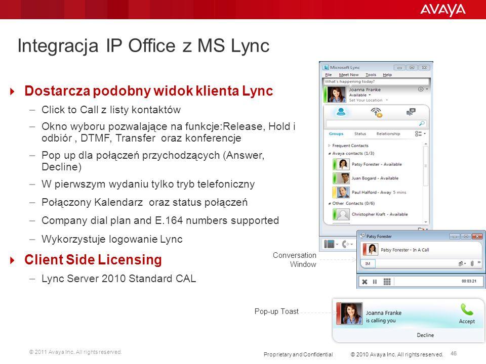 © 2011 Avaya Inc. All rights reserved. 46 Integracja IP Office z MS Lync Dostarcza podobny widok klienta Lync –Click to Call z listy kontaktów –Okno w