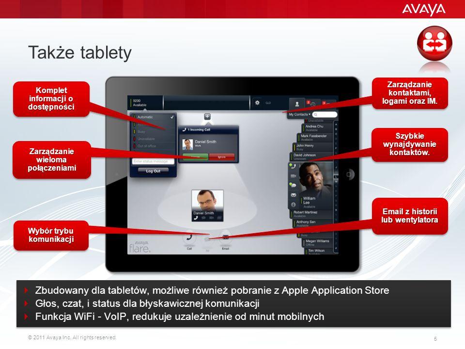 © 2011 Avaya Inc. All rights reserved. 5 Także tablety Zarządzanie wieloma połączeniami Szybkie wynajdywanie kontaktów. Komplet informacji o dostępnoś