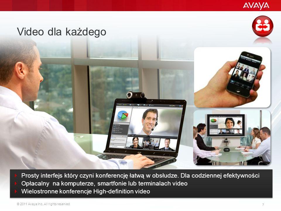 © 2011 Avaya Inc. All rights reserved. 7 Video dla każdego Prosty interfejs który czyni konferencję łatwą w obsłudze. Dla codziennej efektywności Opła