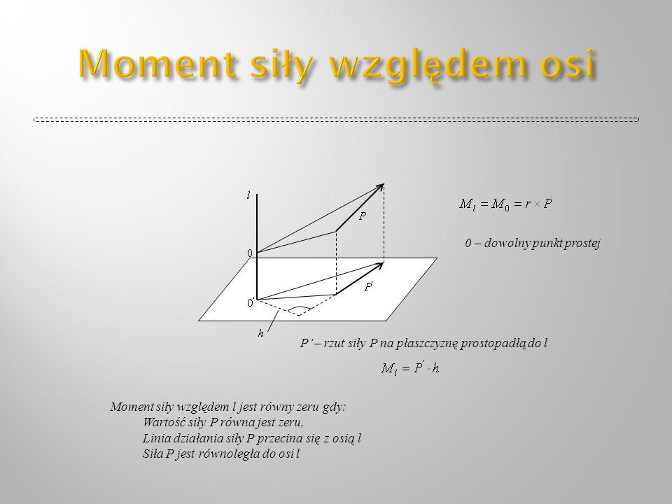 0 – dowolny punkt prostej P – rzut siły P na płaszczyznę prostopadłą do l Moment siły względem l jest równy zeru gdy: Wartość siły P równa jest zeru,