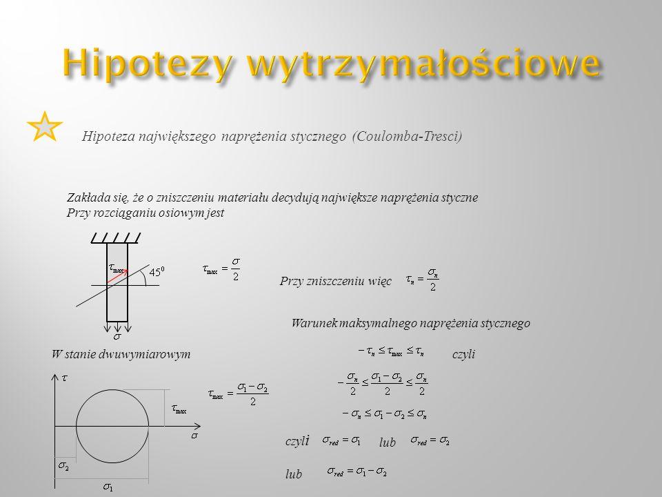Hipoteza największego naprężenia stycznego (Coulomba-Tresci) Zakłada się, że o zniszczeniu materiału decydują największe naprężenia styczne Przy rozci