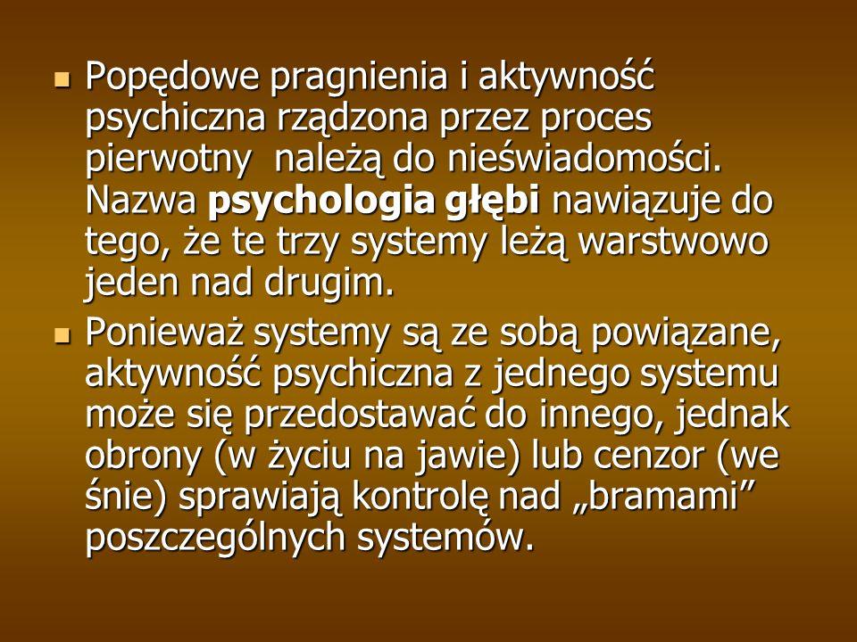 Popędowe pragnienia i aktywność psychiczna rządzona przez proces pierwotny należą do nieświadomości.