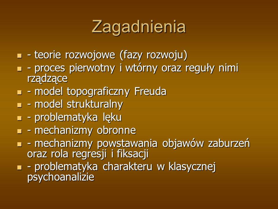 Zagadnienia - teorie rozwojowe (fazy rozwoju) - teorie rozwojowe (fazy rozwoju) - proces pierwotny i wtórny oraz reguły nimi rządzące - proces pierwotny i wtórny oraz reguły nimi rządzące - model topograficzny Freuda - model topograficzny Freuda - model strukturalny - model strukturalny - problematyka lęku - problematyka lęku - mechanizmy obronne - mechanizmy obronne - mechanizmy powstawania objawów zaburzeń oraz rola regresji i fiksacji - mechanizmy powstawania objawów zaburzeń oraz rola regresji i fiksacji - problematyka charakteru w klasycznej psychoanalizie - problematyka charakteru w klasycznej psychoanalizie