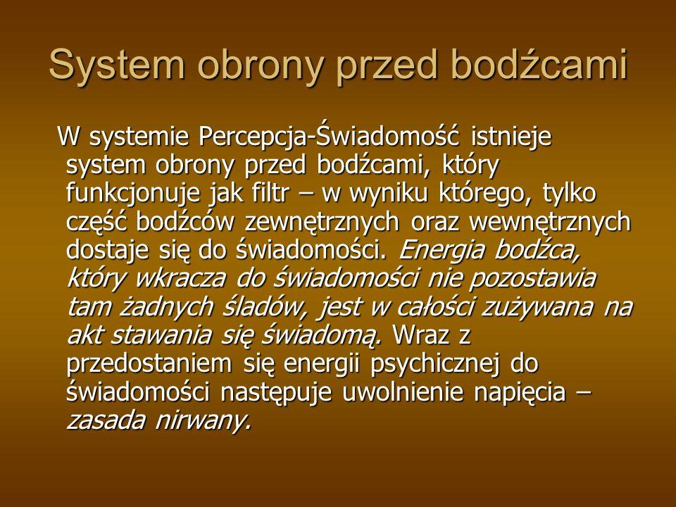 System obrony przed bodźcami W systemie Percepcja-Świadomość istnieje system obrony przed bodźcami, który funkcjonuje jak filtr – w wyniku którego, tylko część bodźców zewnętrznych oraz wewnętrznych dostaje się do świadomości.