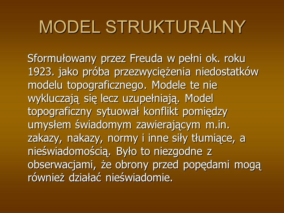 MODEL STRUKTURALNY Sformułowany przez Freuda w pełni ok.