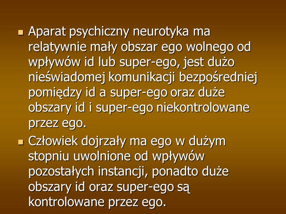 Aparat psychiczny neurotyka ma relatywnie mały obszar ego wolnego od wpływów id lub super-ego, jest dużo nieświadomej komunikacji bezpośredniej pomiędzy id a super-ego oraz duże obszary id i super-ego niekontrolowane przez ego.
