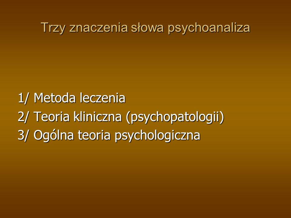 Trzy znaczenia słowa psychoanaliza 1/ Metoda leczenia 2/ Teoria kliniczna (psychopatologii) 3/ Ogólna teoria psychologiczna