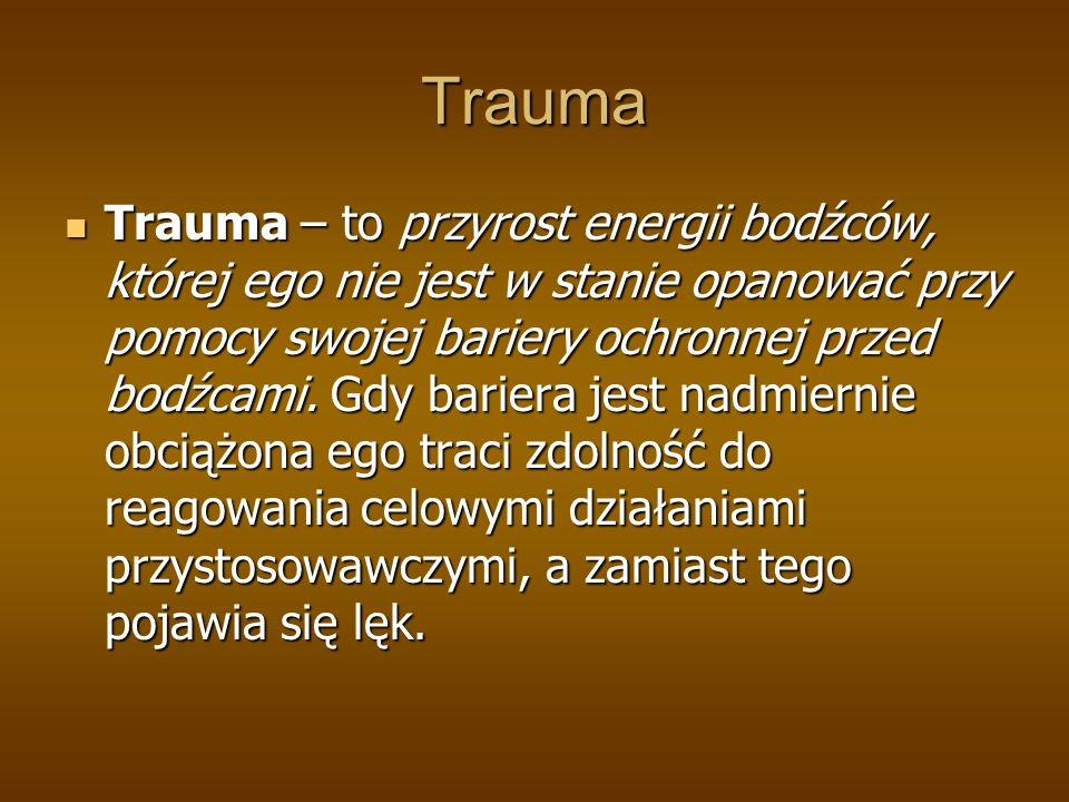Trauma Trauma – to przyrost energii bodźców, której ego nie jest w stanie opanować przy pomocy swojej bariery ochronnej przed bodźcami.