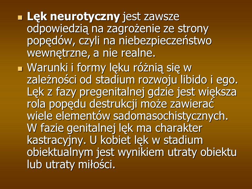 Lęk neurotyczny jest zawsze odpowiedzią na zagrożenie ze strony popędów, czyli na niebezpieczeństwo wewnętrzne, a nie realne.