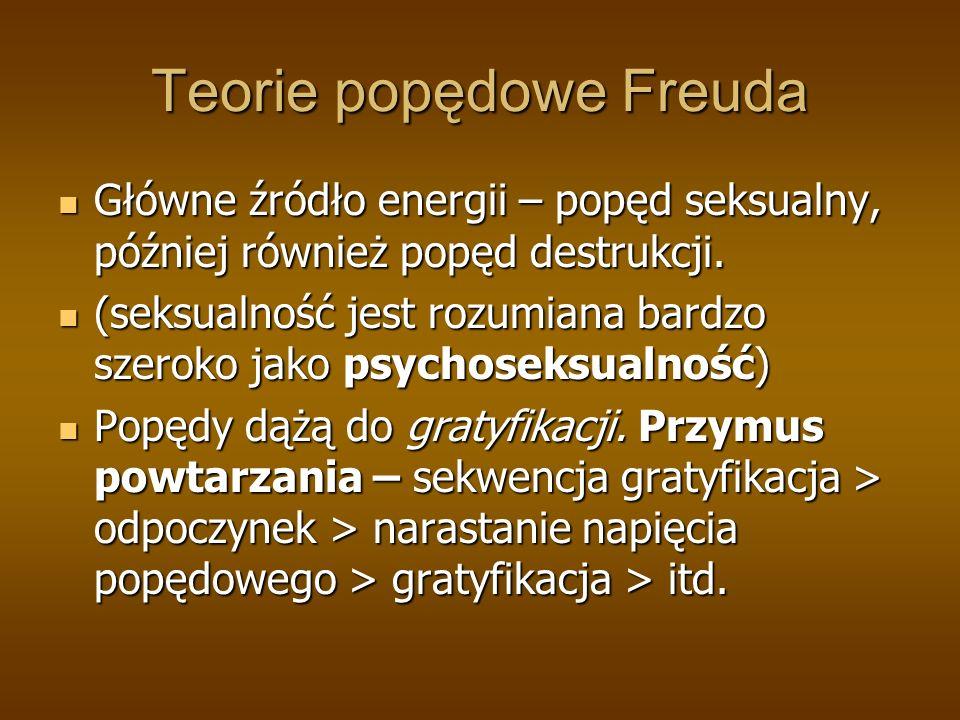 Teorie popędowe Freuda Główne źródło energii – popęd seksualny, później również popęd destrukcji.