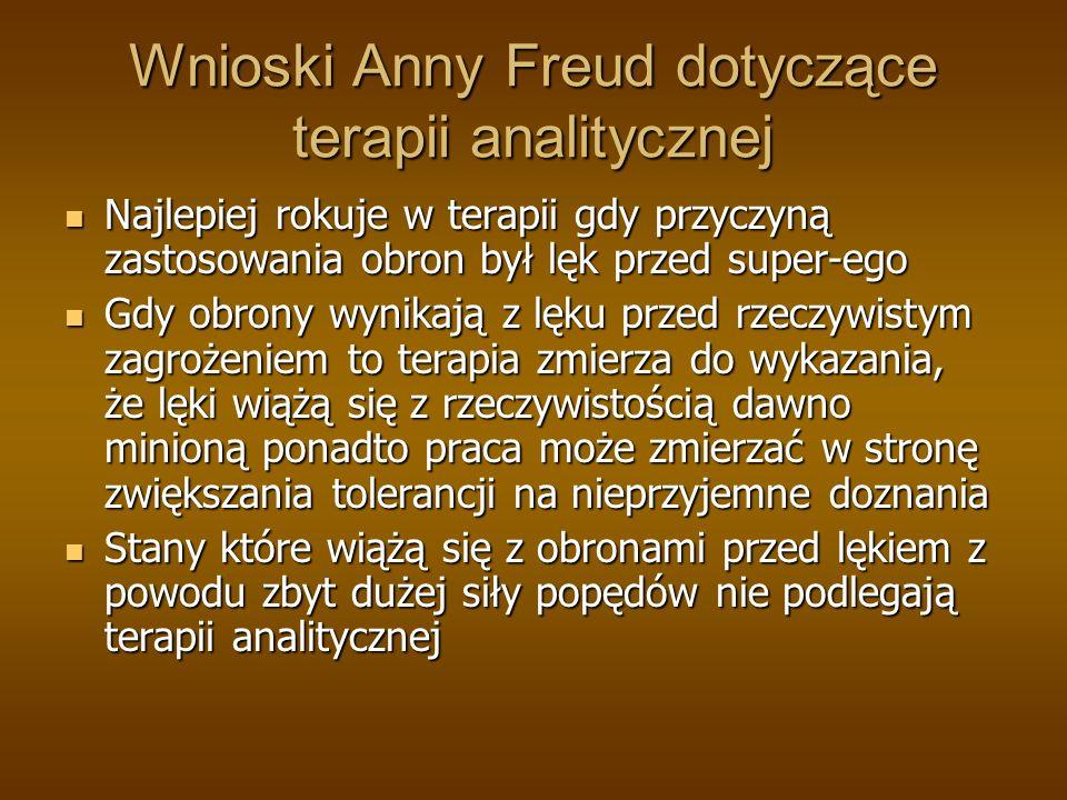 Wnioski Anny Freud dotyczące terapii analitycznej Najlepiej rokuje w terapii gdy przyczyną zastosowania obron był lęk przed super-ego Najlepiej rokuje w terapii gdy przyczyną zastosowania obron był lęk przed super-ego Gdy obrony wynikają z lęku przed rzeczywistym zagrożeniem to terapia zmierza do wykazania, że lęki wiążą się z rzeczywistością dawno minioną ponadto praca może zmierzać w stronę zwiększania tolerancji na nieprzyjemne doznania Gdy obrony wynikają z lęku przed rzeczywistym zagrożeniem to terapia zmierza do wykazania, że lęki wiążą się z rzeczywistością dawno minioną ponadto praca może zmierzać w stronę zwiększania tolerancji na nieprzyjemne doznania Stany które wiążą się z obronami przed lękiem z powodu zbyt dużej siły popędów nie podlegają terapii analitycznej Stany które wiążą się z obronami przed lękiem z powodu zbyt dużej siły popędów nie podlegają terapii analitycznej