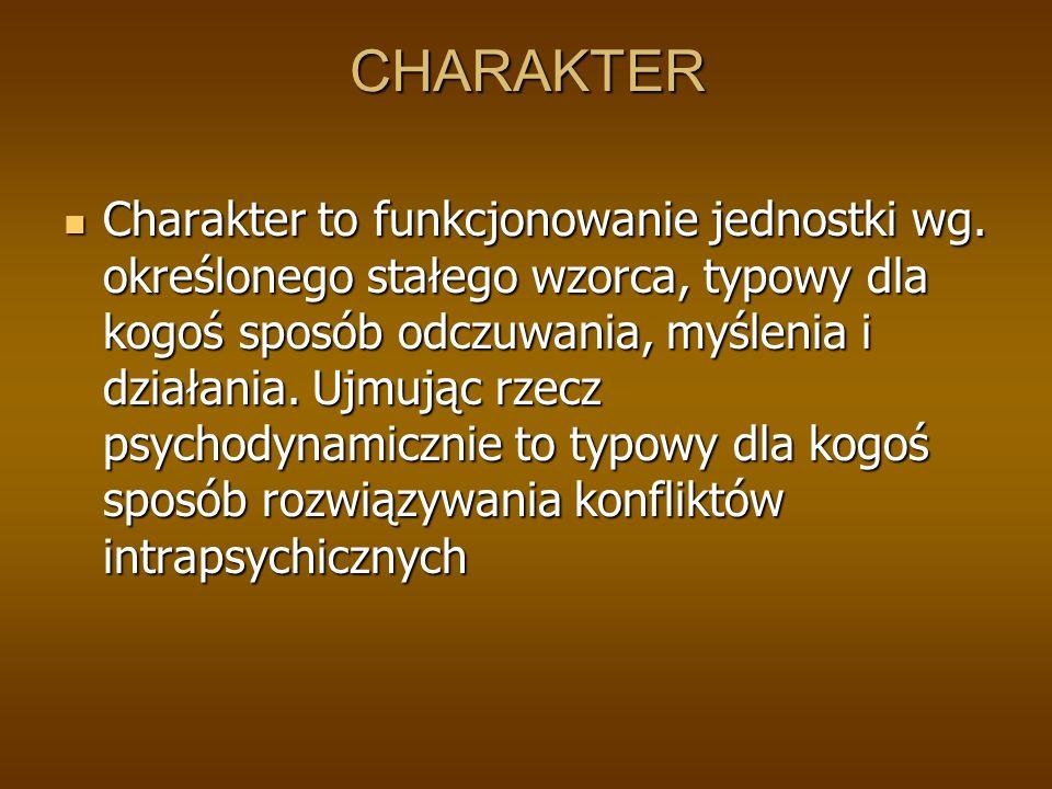 CHARAKTER Charakter to funkcjonowanie jednostki wg.