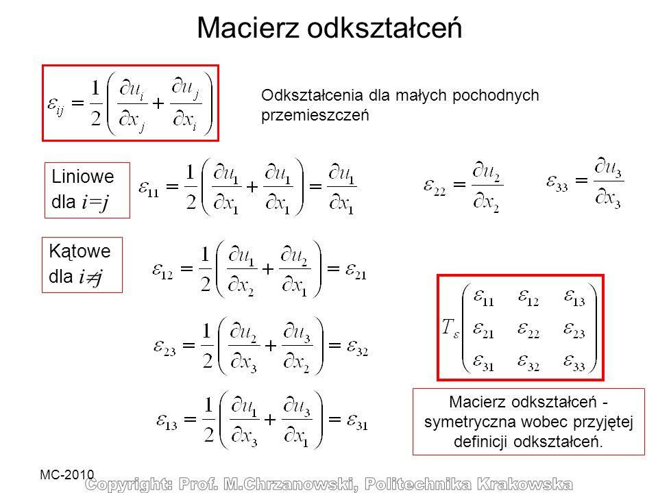 MC-2010 Macierz odkształceń Odkształcenia dla małych pochodnych przemieszczeń Kątowe dla i j Liniowe dla i=j Macierz odkształceń - symetryczna wobec p