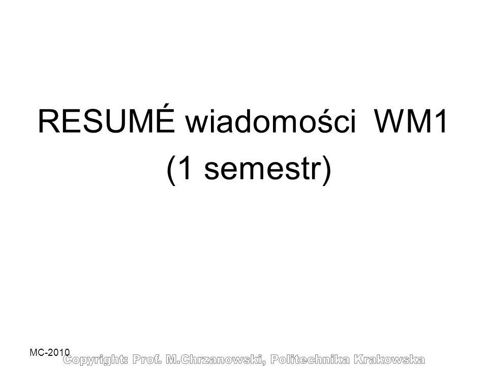 MC-2010 RESUMÉ wiadomości WM1 (1 semestr)