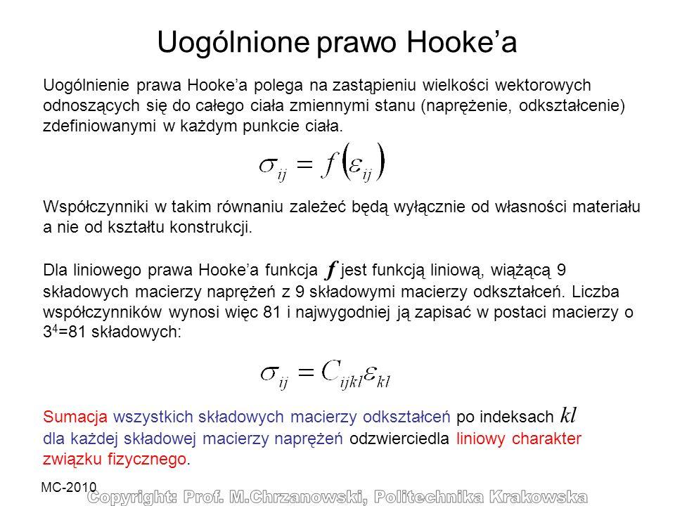 MC-2010 Uogólnienie prawa Hookea polega na zastąpieniu wielkości wektorowych odnoszących się do całego ciała zmiennymi stanu (naprężenie, odkształceni