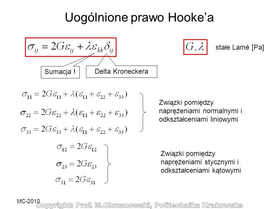 MC-2010 Uogólnione prawo Hookea Sumacja ! Delta Kroneckera stałe Lamé [Pa] Związki pomiędzy naprężeniami normalnymi i odkształceniami liniowymi Związk
