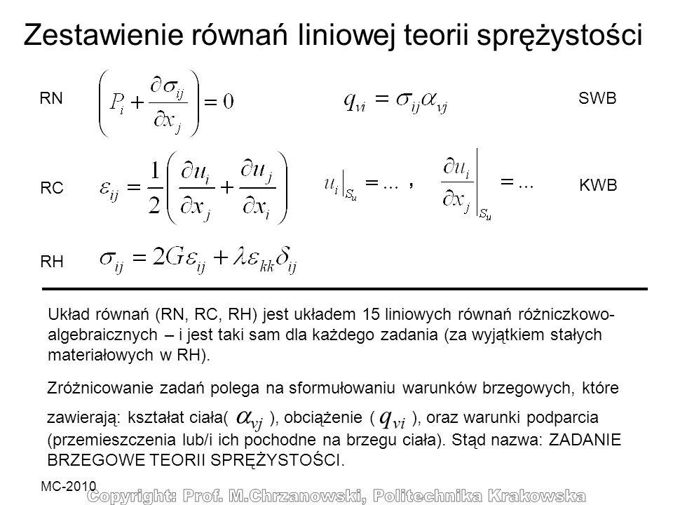 MC-2010 Zestawienie równań liniowej teorii sprężystości RN RC RH SWB KWB Układ równań (RN, RC, RH) jest układem 15 liniowych równań różniczkowo- algeb