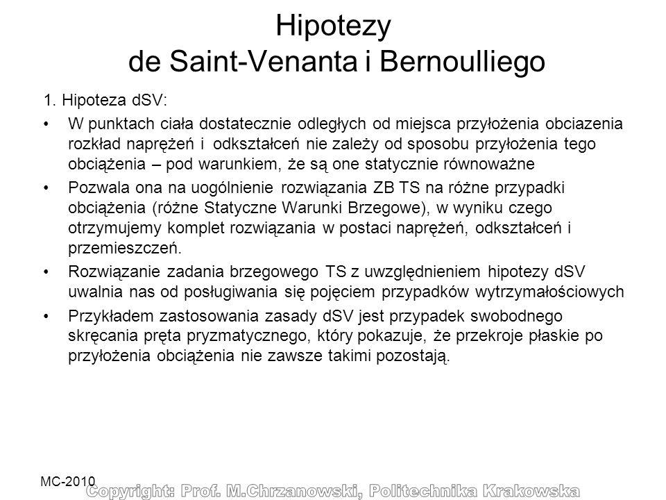 MC-2010 Hipotezy de Saint-Venanta i Bernoulliego 1. Hipoteza dSV: W punktach ciała dostatecznie odległych od miejsca przyłożenia obciazenia rozkład na