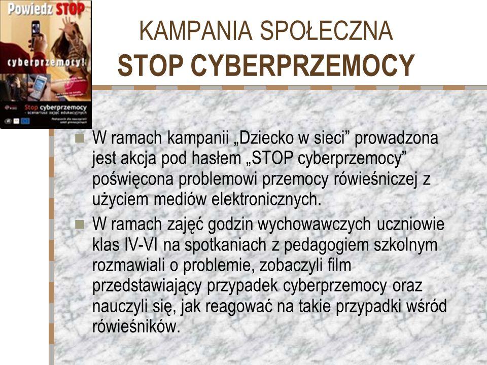 KAMPANIA SPOŁECZNA SZKOŁA BEZ PRZEMOCY Nasza szkoła bierze udział w Kampanii Szkoła bez przemocy od początku akcji czyli w latach 2006/7, 2007/8, 2008/9.