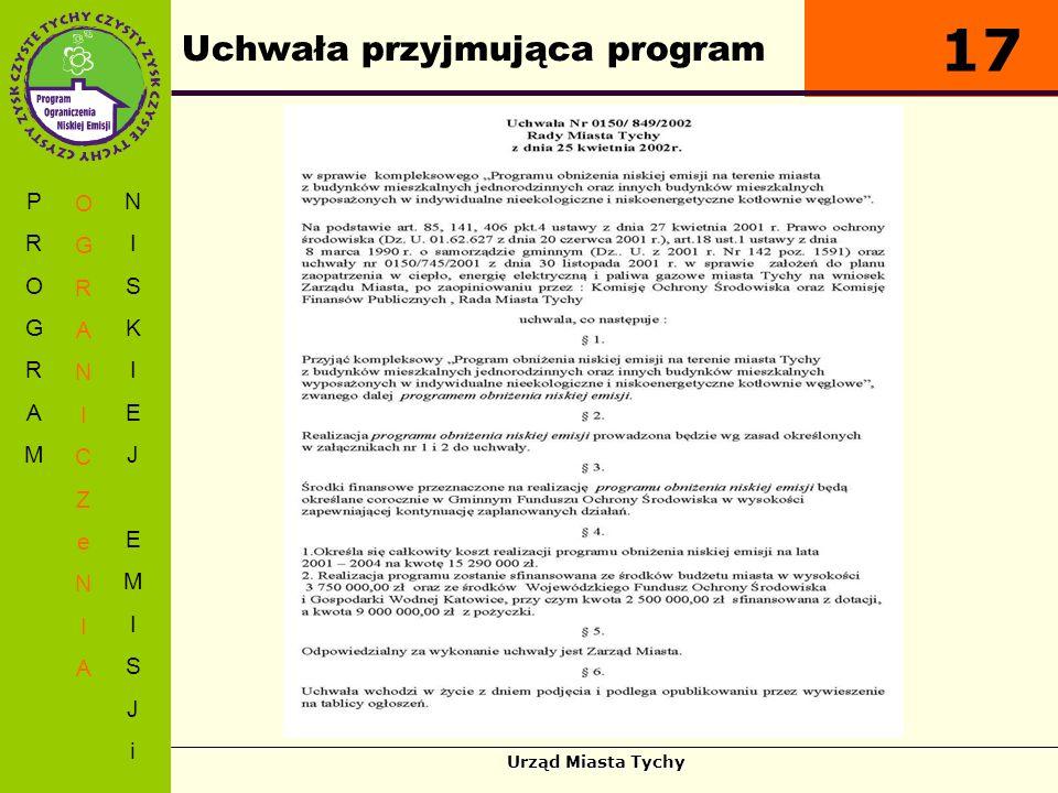 Urząd Miasta Tychy Uchwała przyjmująca program PROGRAMPROGRAM OGRANICZeNIAOGRANICZeNIA NISKIEJEMISJiNISKIEJEMISJi 17