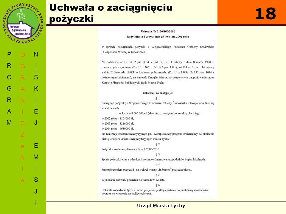 Urząd Miasta Tychy Uchwała o zaciągnięciu pożyczki PROGRAMPROGRAM OGRANICZeNIAOGRANICZeNIA NISKIEJEMISJiNISKIEJEMISJi 18