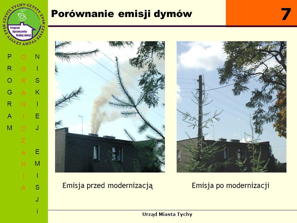 Urząd Miasta Tychy Porównanie emisji dymów PROGRAMPROGRAM OGRANICZeNIAOGRANICZeNIA NISKIEJEMISJiNISKIEJEMISJi 7 Emisja przed modernizacjąEmisja po mod