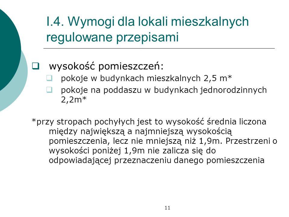 11 I.4. Wymogi dla lokali mieszkalnych regulowane przepisami wysokość pomieszczeń: pokoje w budynkach mieszkalnych 2,5 m* pokoje na poddaszu w budynka