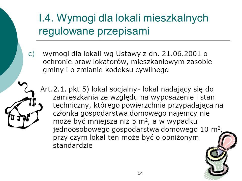 14 I.4. Wymogi dla lokali mieszkalnych regulowane przepisami c)wymogi dla lokali wg Ustawy z dn. 21.06.2001 o ochronie praw lokatorów, mieszkaniowym z