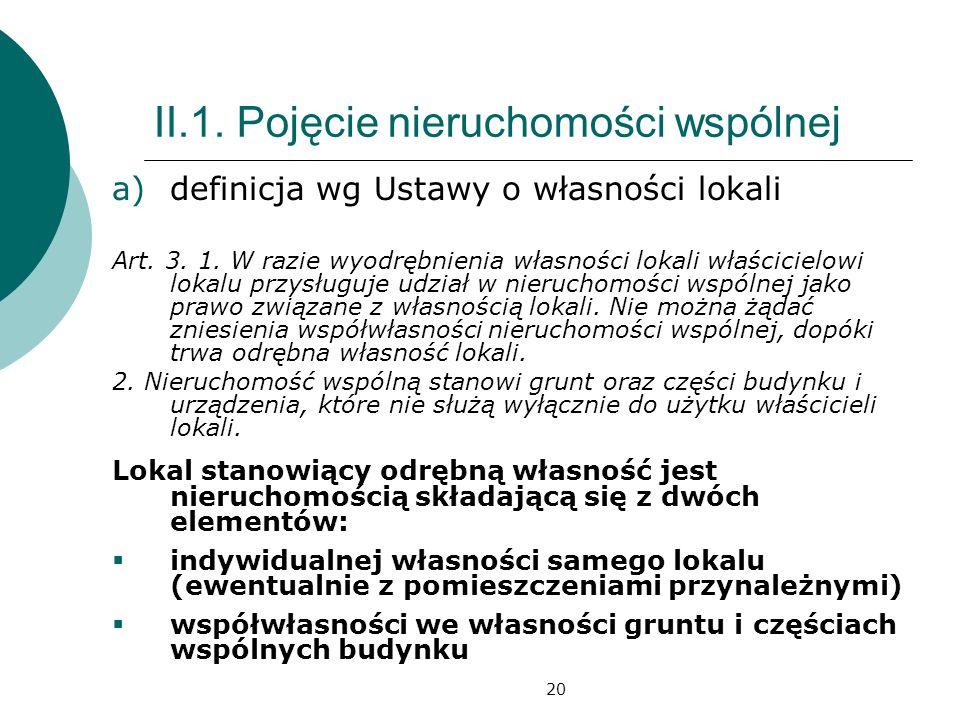 20 II.1. Pojęcie nieruchomości wspólnej a)definicja wg Ustawy o własności lokali Art. 3. 1. W razie wyodrębnienia własności lokali właścicielowi lokal