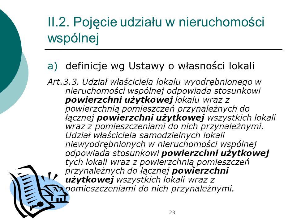 23 II.2. Pojęcie udziału w nieruchomości wspólnej a)definicje wg Ustawy o własności lokali Art.3.3. Udział właściciela lokalu wyodrębnionego w nieruch
