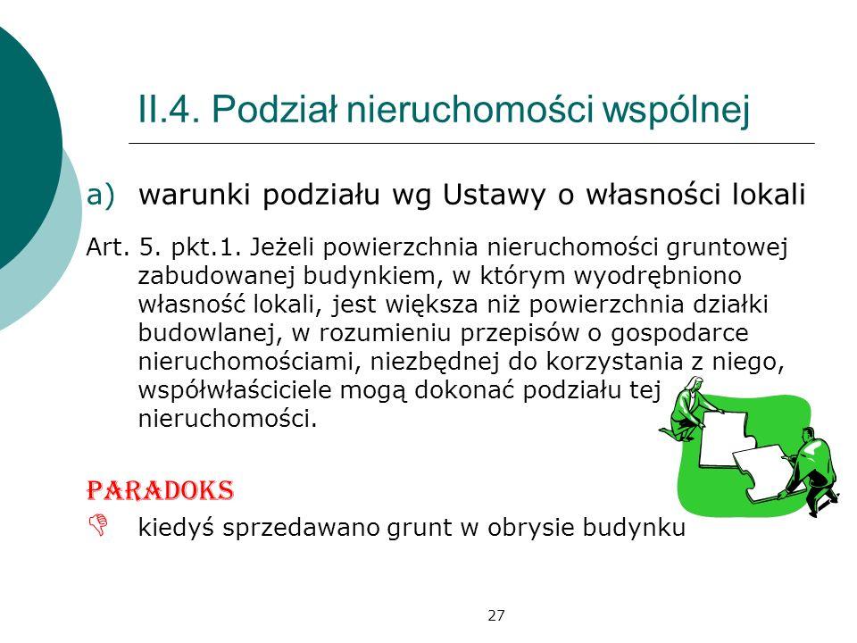27 II.4.Podział nieruchomości wspólnej a)warunki podziału wg Ustawy o własności lokali Art.