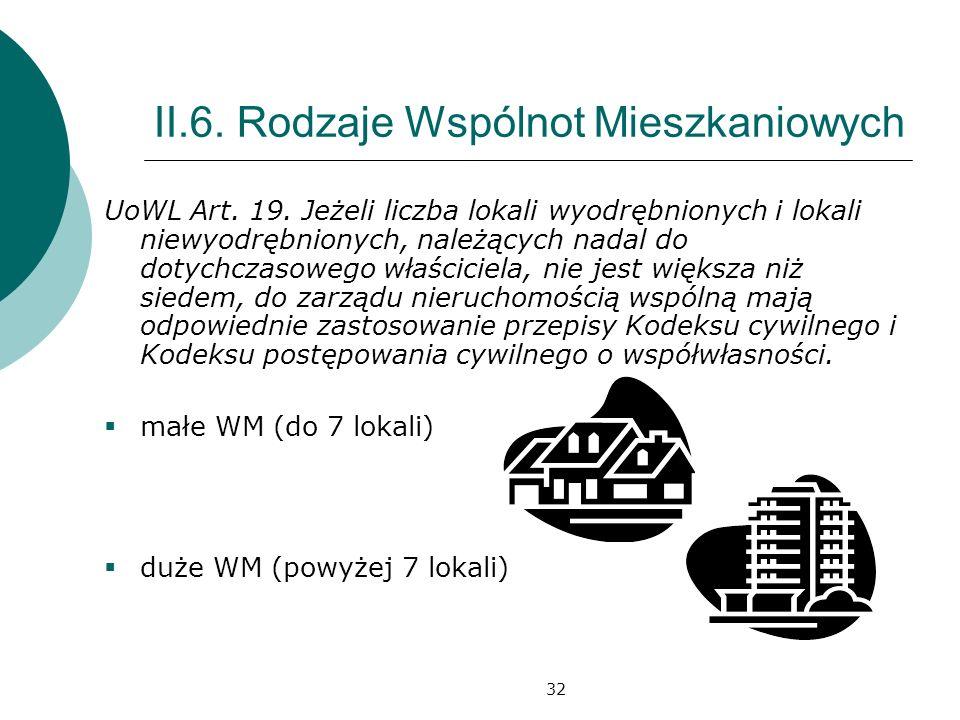 32 II.6. Rodzaje Wspólnot Mieszkaniowych UoWL Art. 19. Jeżeli liczba lokali wyodrębnionych i lokali niewyodrębnionych, należących nadal do dotychczaso