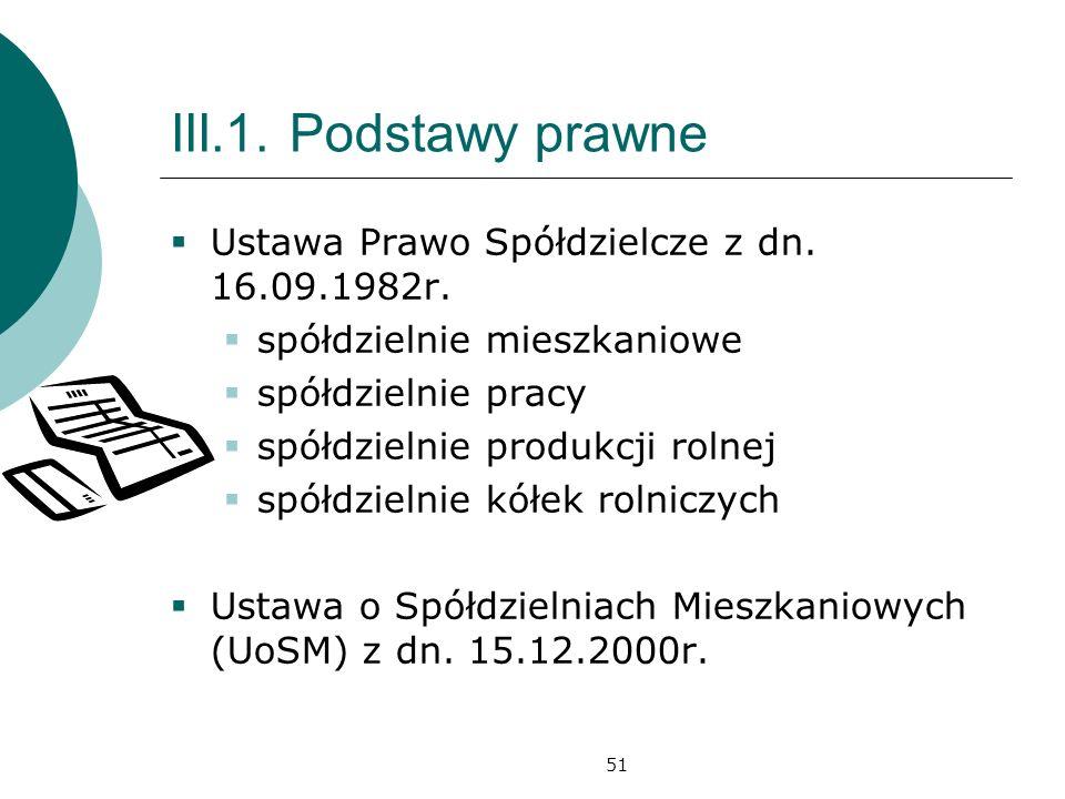 51 III.1.Podstawy prawne Ustawa Prawo Spółdzielcze z dn.