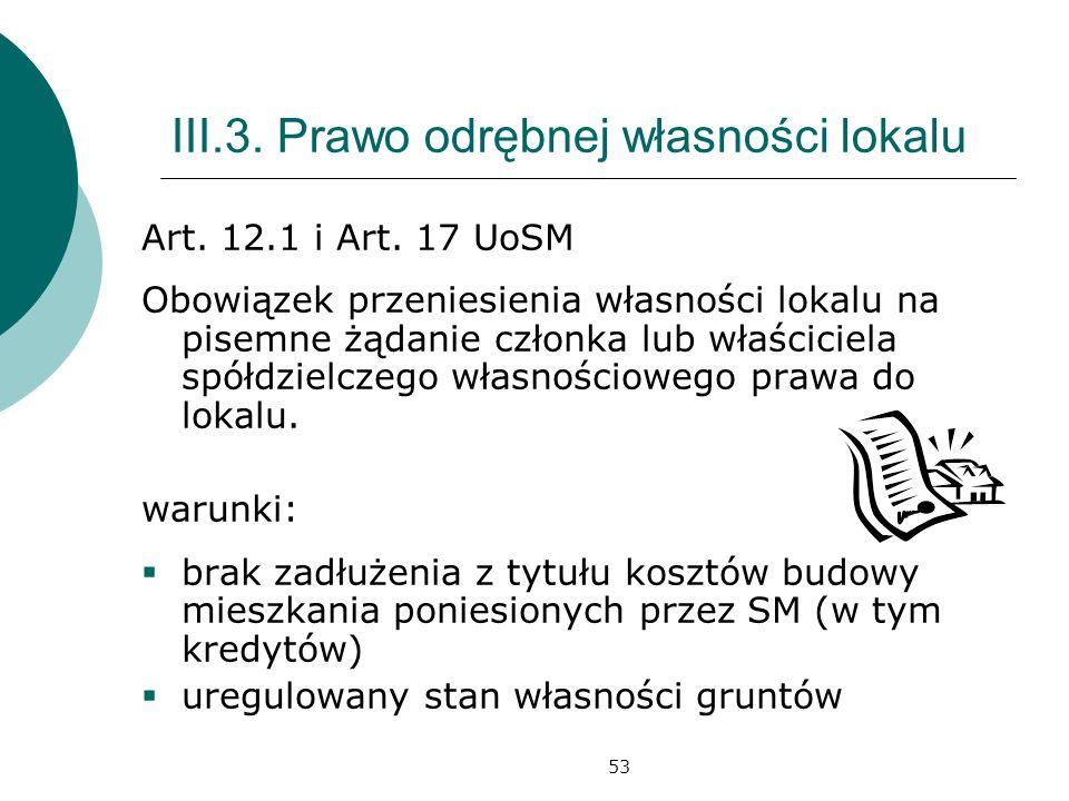 53 III.3.Prawo odrębnej własności lokalu Art. 12.1 i Art.
