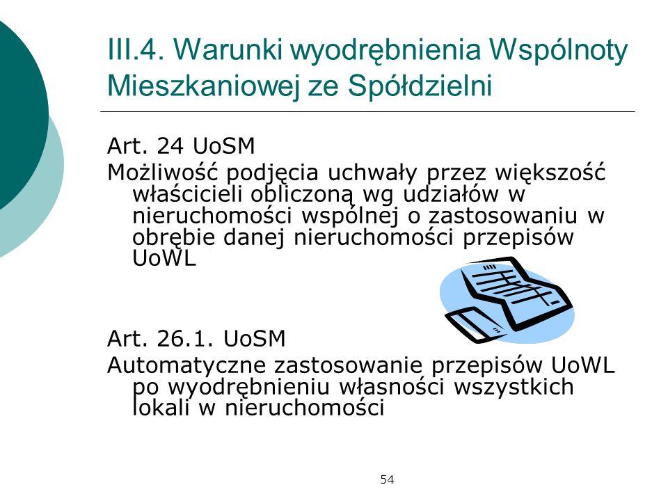 54 III.4.Warunki wyodrębnienia Wspólnoty Mieszkaniowej ze Spółdzielni Art.