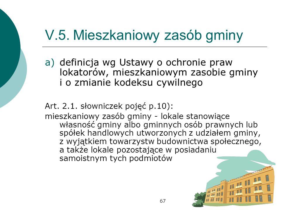 67 V.5.Mieszkaniowy zasób gminy a)definicja wg Ustawy o ochronie praw lokatorów, mieszkaniowym zasobie gminy i o zmianie kodeksu cywilnego Art.