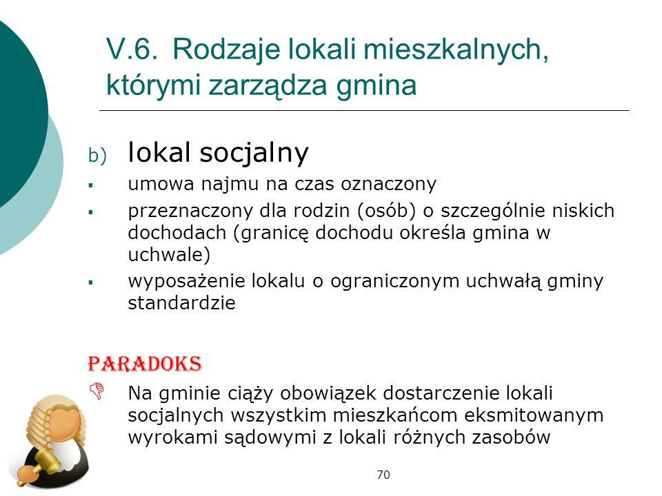 70 V.6.Rodzaje lokali mieszkalnych, którymi zarządza gmina b) lokal socjalny umowa najmu na czas oznaczony przeznaczony dla rodzin (osób) o szczególni