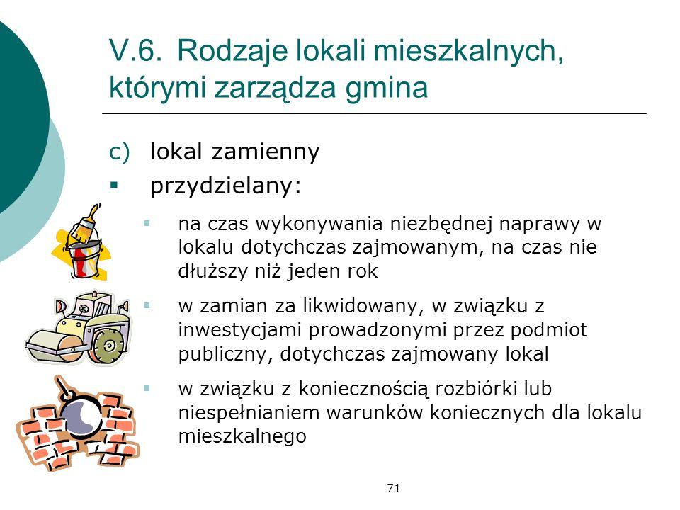 71 V.6.Rodzaje lokali mieszkalnych, którymi zarządza gmina c)lokal zamienny przydzielany: na czas wykonywania niezbędnej naprawy w lokalu dotychczas z