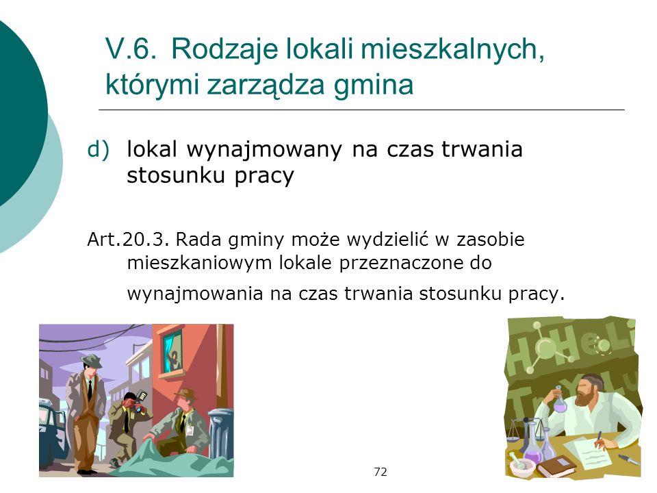 72 V.6.Rodzaje lokali mieszkalnych, którymi zarządza gmina d)lokal wynajmowany na czas trwania stosunku pracy Art.20.3.