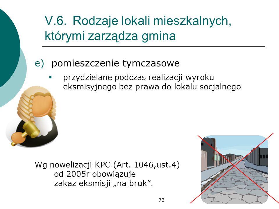 73 V.6.Rodzaje lokali mieszkalnych, którymi zarządza gmina e)pomieszczenie tymczasowe przydzielane podczas realizacji wyroku eksmisyjnego bez prawa do lokalu socjalnego Wg nowelizacji KPC (Art.