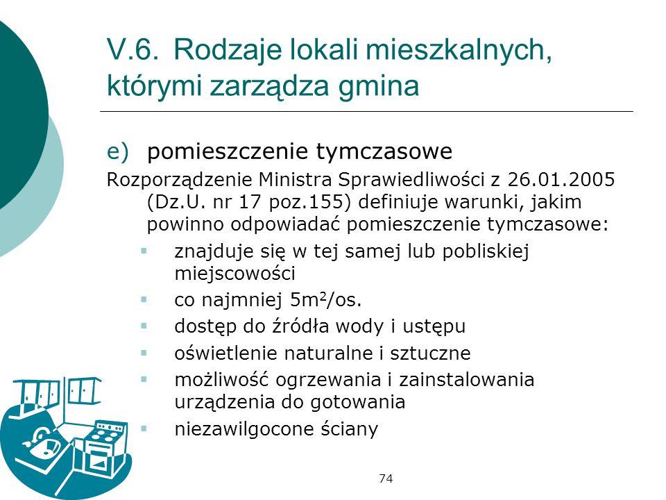 74 V.6.Rodzaje lokali mieszkalnych, którymi zarządza gmina e)pomieszczenie tymczasowe Rozporządzenie Ministra Sprawiedliwości z 26.01.2005 (Dz.U.