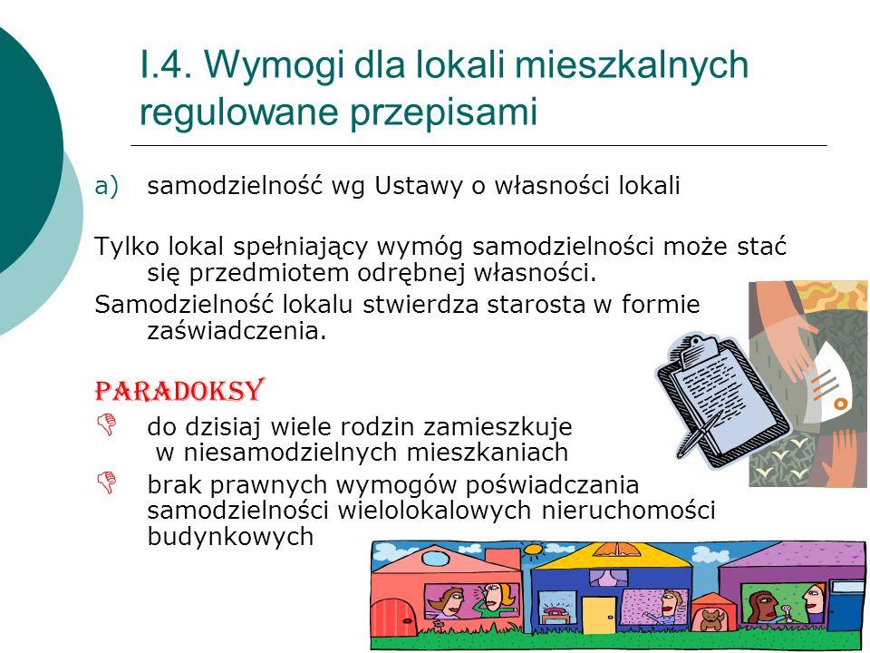 8 I.4. Wymogi dla lokali mieszkalnych regulowane przepisami a)samodzielność wg Ustawy o własności lokali Tylko lokal spełniający wymóg samodzielności