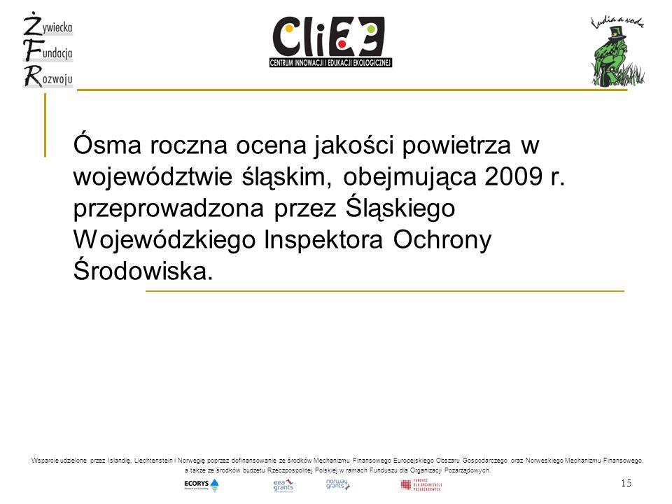 15 Ósma roczna ocena jakości powietrza w województwie śląskim, obejmująca 2009 r. przeprowadzona przez Śląskiego Wojewódzkiego Inspektora Ochrony Środ