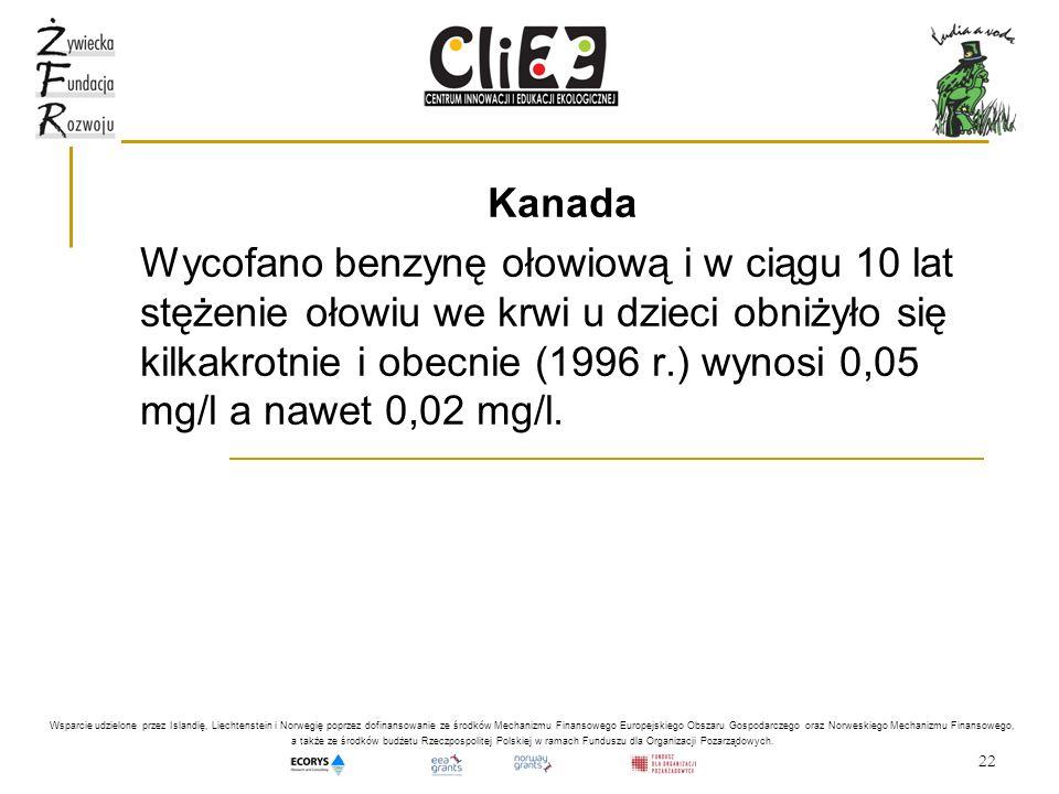 22 Kanada Wycofano benzynę ołowiową i w ciągu 10 lat stężenie ołowiu we krwi u dzieci obniżyło się kilkakrotnie i obecnie (1996 r.) wynosi 0,05 mg/l a