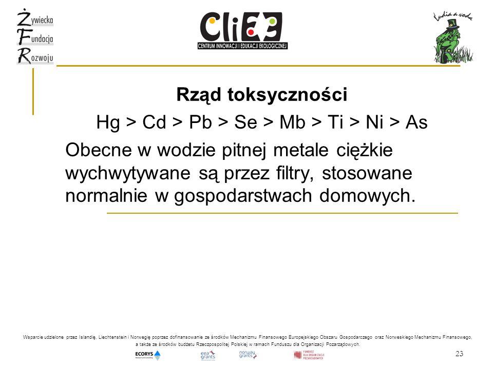 23 Rząd toksyczności Hg > Cd > Pb > Se > Mb > Ti > Ni > As Obecne w wodzie pitnej metale ciężkie wychwytywane są przez filtry, stosowane normalnie w g