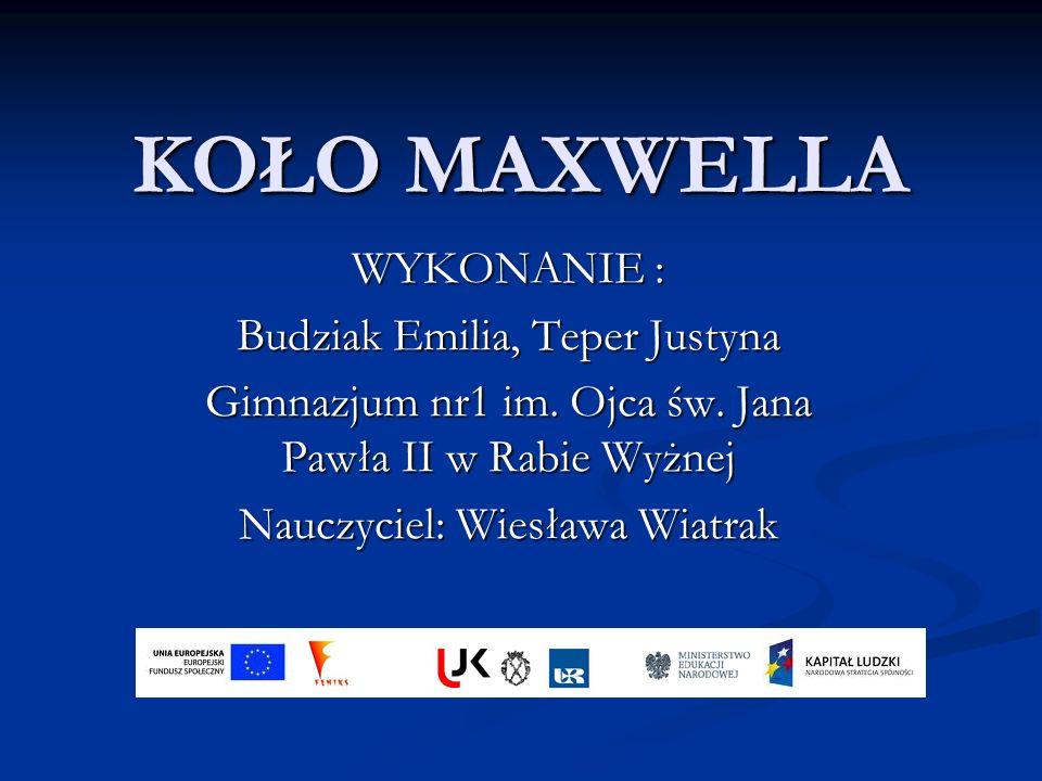KOŁO MAXWELLA WYKONANIE : Budziak Emilia, Teper Justyna Gimnazjum nr1 im.